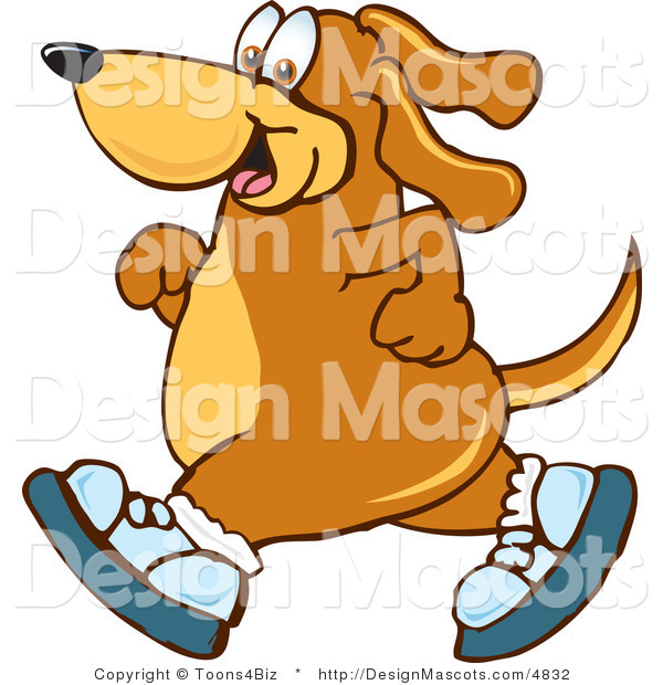 Clipart of ABrown Dog Mascot Cartoon Character Wearing Shoes - Royalty Free