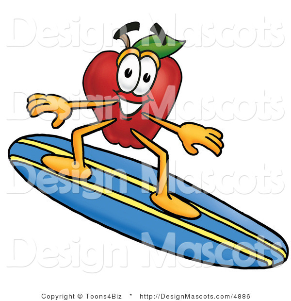 Clipart of ARed Apple Character Mascot Surfing - Royalty Free