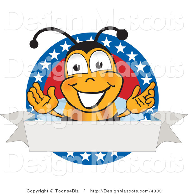 Clipart of Bee Mascot Cartoon Character with Stars on a Label- Royalty Free