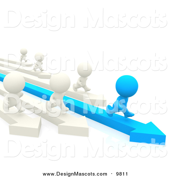 Illustration of a 3d Blue Person Racing White People