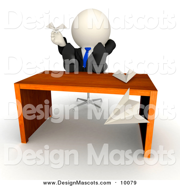 Illustration of a 3d Lazy White Businessman Playing with Paper Airplanes with His Feet on His Desk