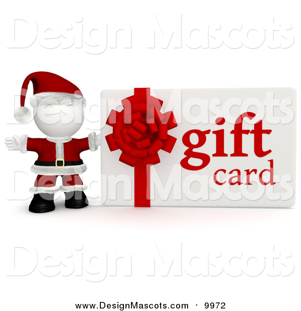 Illustration of a 3d Santa with a Christmas Gift Card