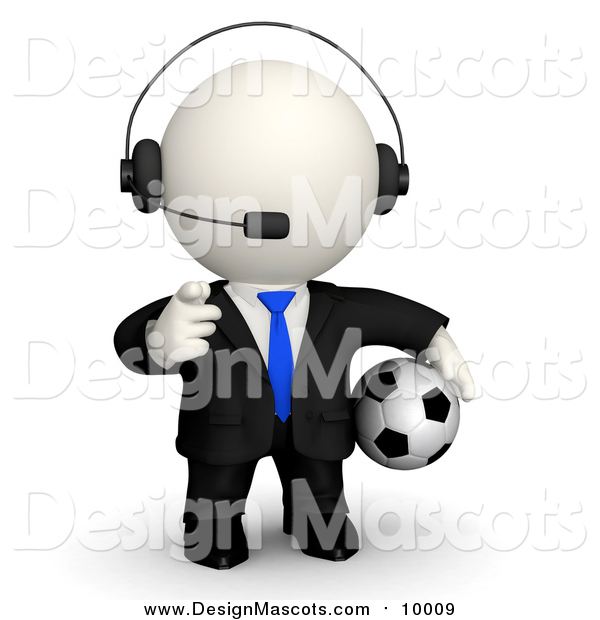 Illustration of a 3d White Business Dude Wearing a Headset Pointing and Holding a Soccer Ball