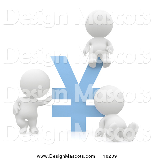 Illustration of a 3d White People with a Blue Yen Symbol