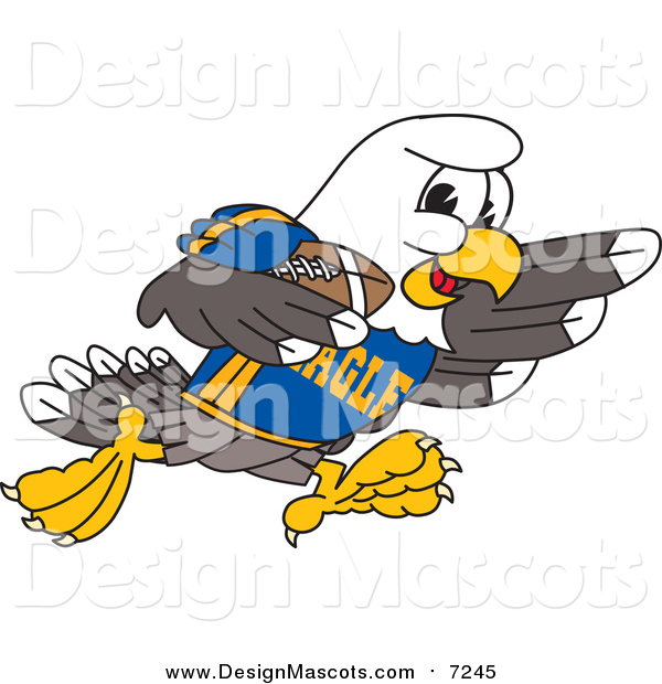 Illustration of a Bald Eagle Character Playing Football