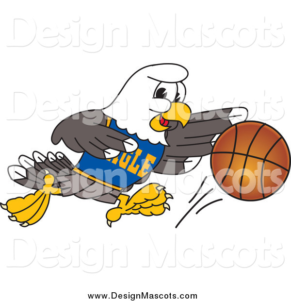 Illustration of a Bald Eagle Dribbling a Basketball