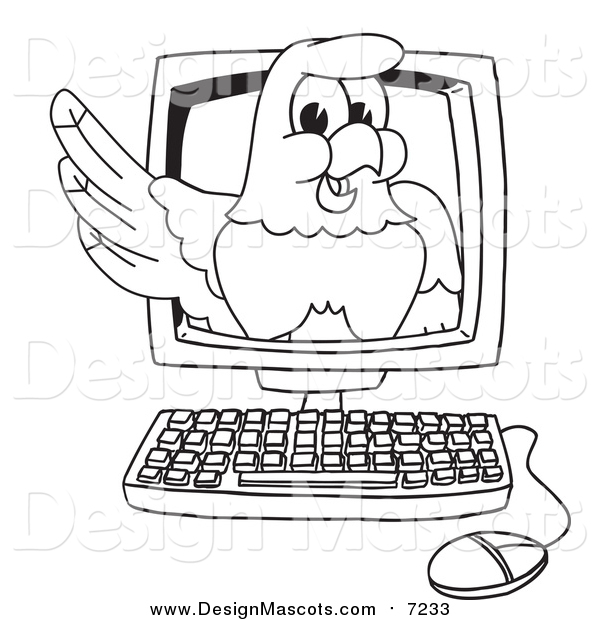 Illustration of a Bald Eagle Hawk or Falcon on a Computer Screen