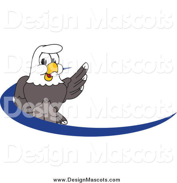 Illustration of a Bald Eagle Mascot over a Dash