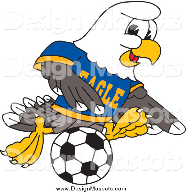 Illustration of a Bald Eagle Mascot Playing Soccer