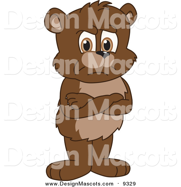 Illustration of a Bear Cub School Mascot with His Arms Crossed