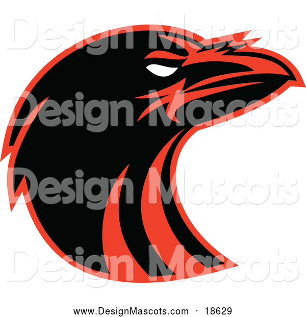 Illustration of a Black and Red Raven Head Mascot