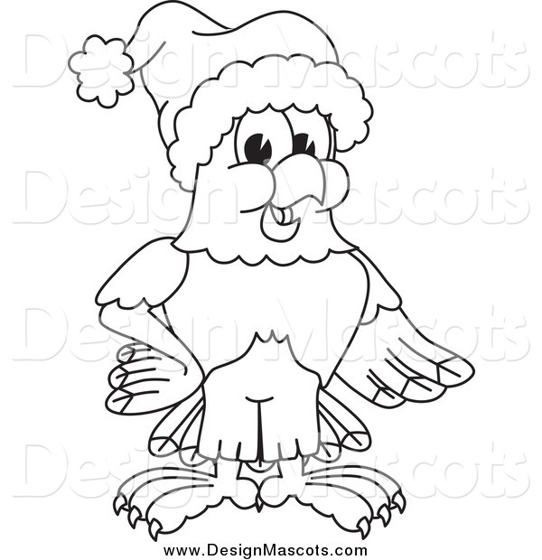 Illustration of a Black and White Bald Eagle Hawk or Falcon Wearing a Santa Hat