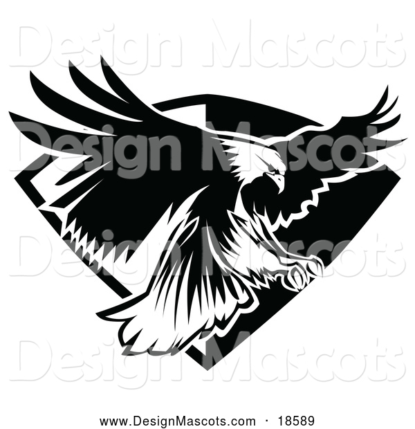 Illustration of a Black and White Bald Eagle Mascot Flying Badge