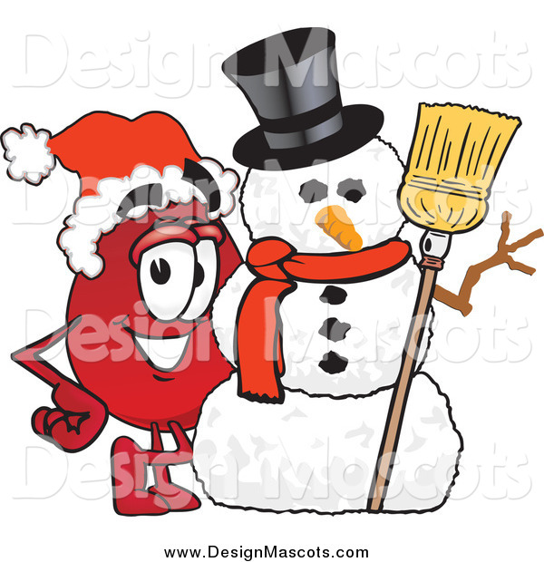 Illustration of a Blood Drop Mascot with a Christmas Snowman