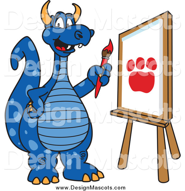 Illustration of a Blue Dragon School Mascot Painting a Paw Print on an Easel