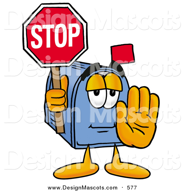 Illustration of a Blue Mailbox Mascot Holding a Stop Sign