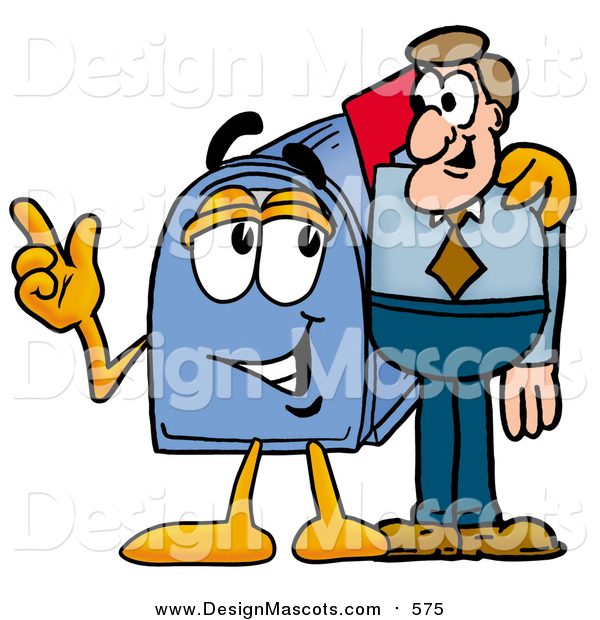 Illustration of a Blue Mailbox Mascot Talking to a Business Man