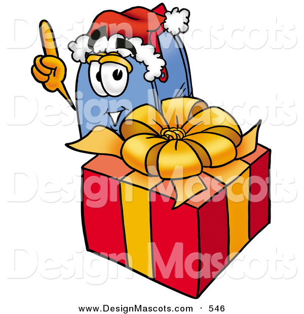 Illustration of a Blue Postal Mailbox Mascot Standing by a Christmas Present