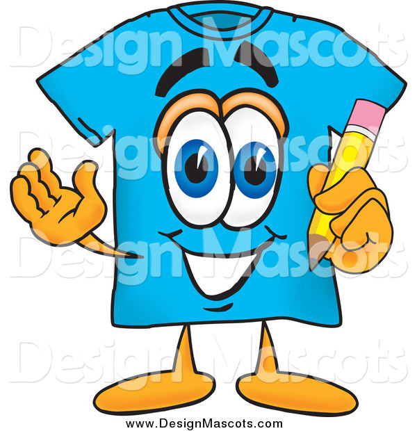 Illustration of a Blue T-Shirt Mascot Holding a Pencil