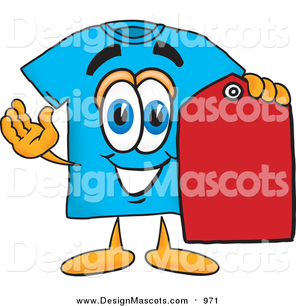 Illustration of a Blue T-Shirt Mascot Holding a Red Sales Price Tag
