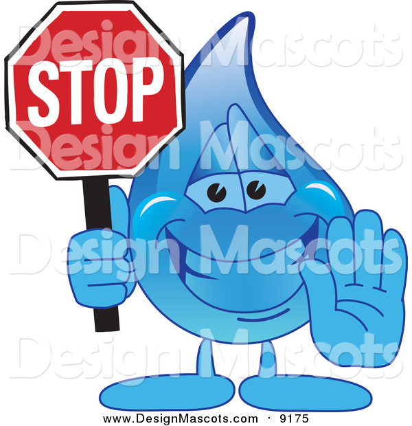 Illustration of a Blue Water Drop Character Holding a Stop Sign