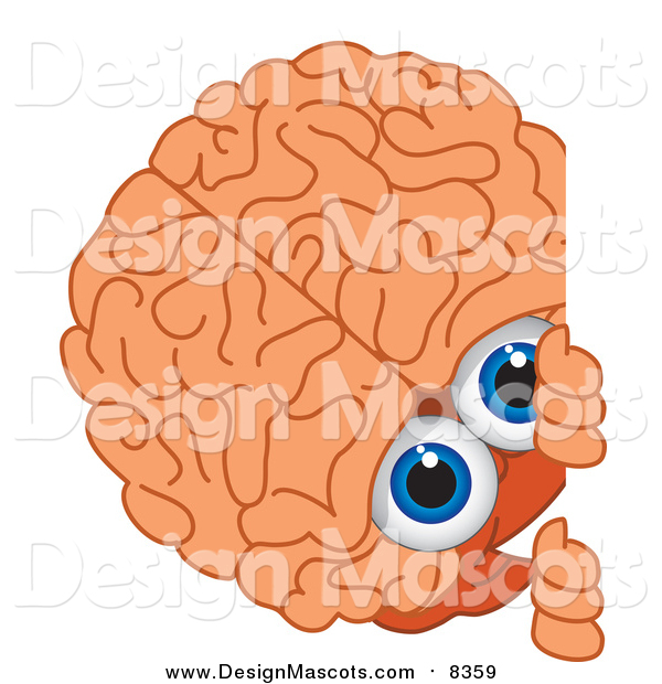 Illustration of a Brain Mascot Looking Around a Blank Sign