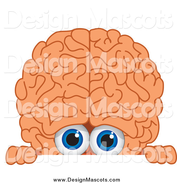 Illustration of a Brain Mascot Looking over a Blank Sign