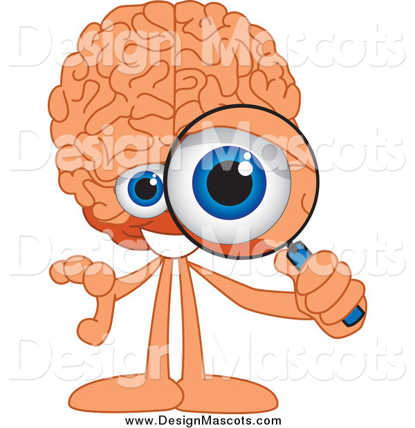 Illustration of a Brain Mascot Looking Through a Magnifying Glass