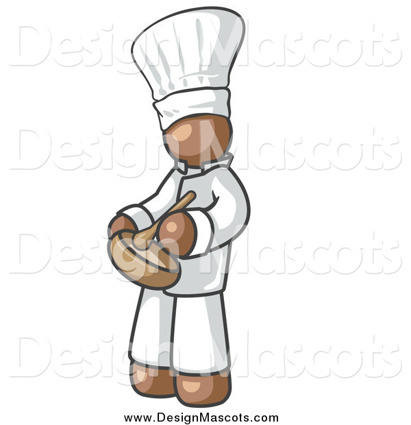Illustration of a Brown Baker Chef Stirring Ingredients in a Bowl