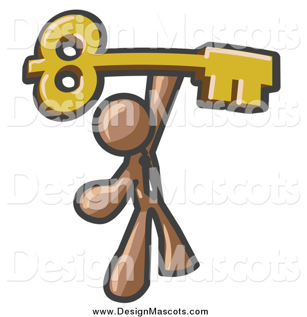 Illustration of a Brown Business Man Holding a Large Golden Skeleton Key