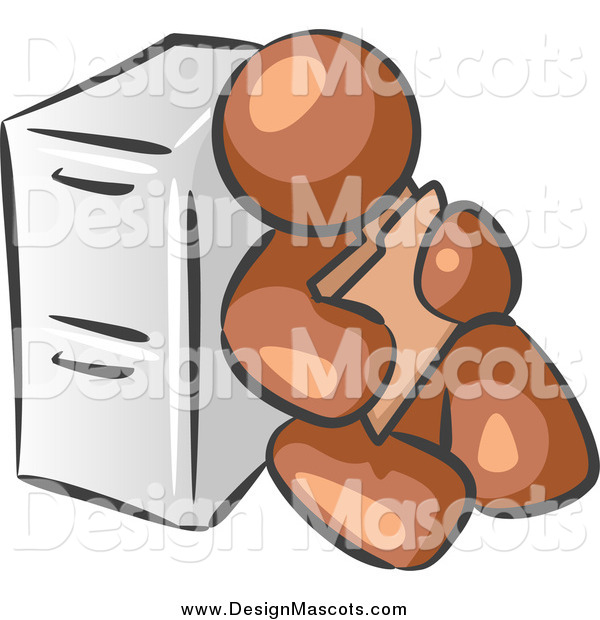 Illustration of a Brown Man Sitting Against a Filing Cabinet and Holding a Folder