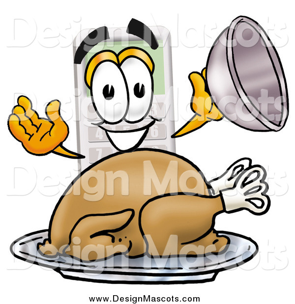 Illustration of a Calculator Mascot Serving a Roasted Turkey on a Platter