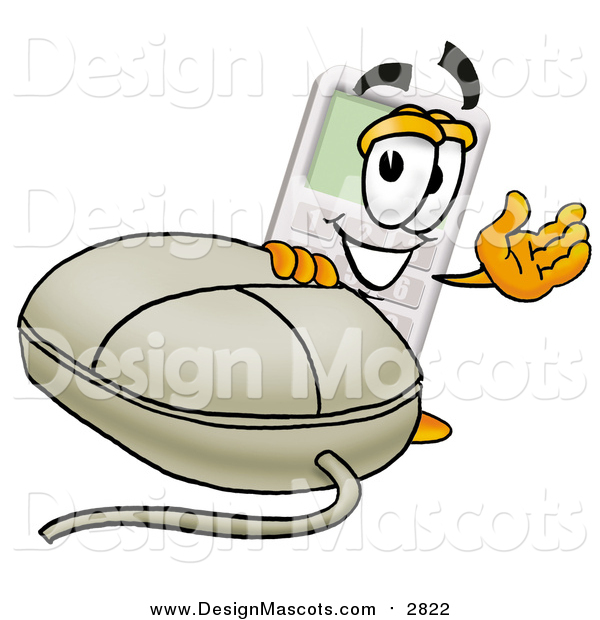 Illustration of a Calculator Mascot with a Computer Mouse