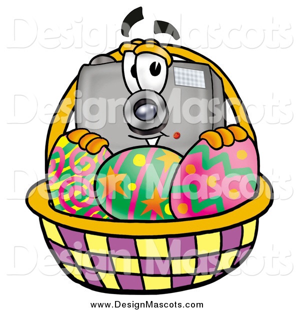 Illustration of a Camera Mascot and an Easter Basket