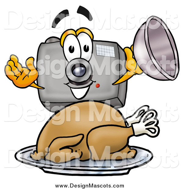 Illustration of a Camera Mascot Holding a Cloche over a Roasted Turkey