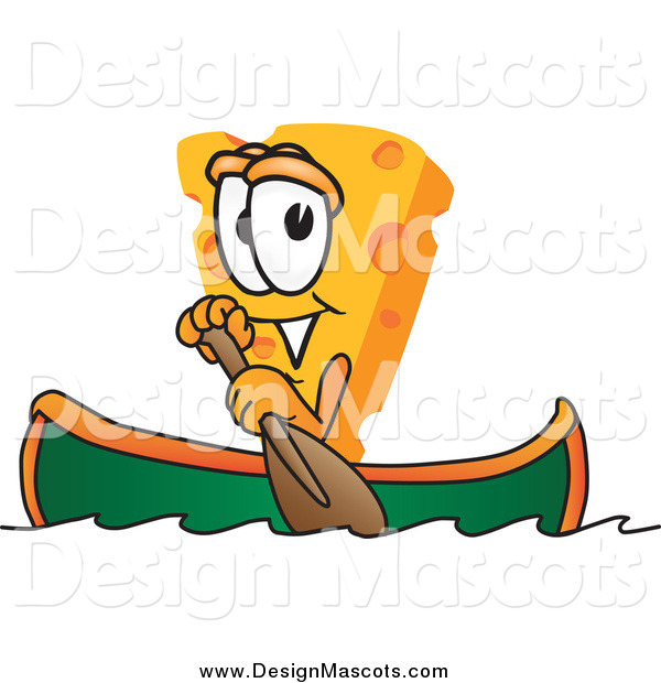 Illustration of a Canoeing Cheese Mascot