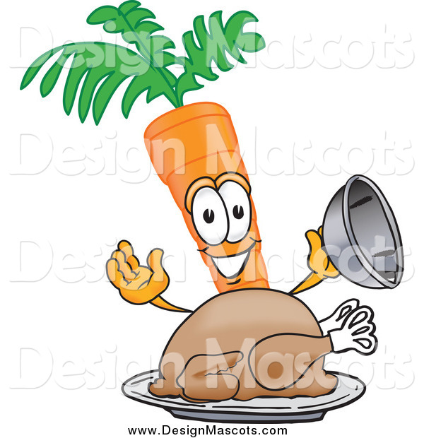 Illustration of a Carrot Mascot Serving a Roasted Thanksgiving Turkey Bird in a Platter