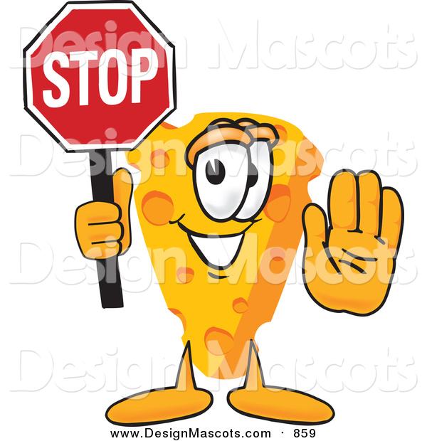 Illustration of a Cheese Mascot Holding a Stop Sign