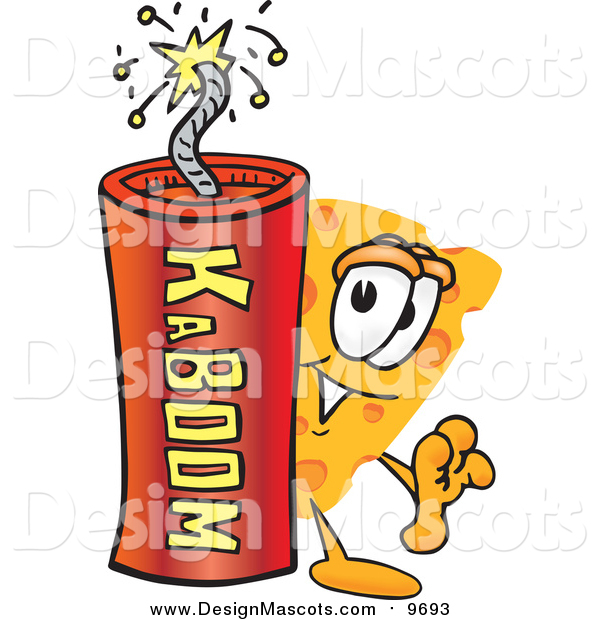 Illustration of a Cheese Mascot with a Stick of Dynamite