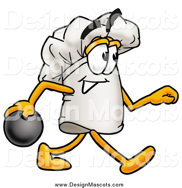 Illustration of a Chefs Hat Mascot in Profile, Bowling