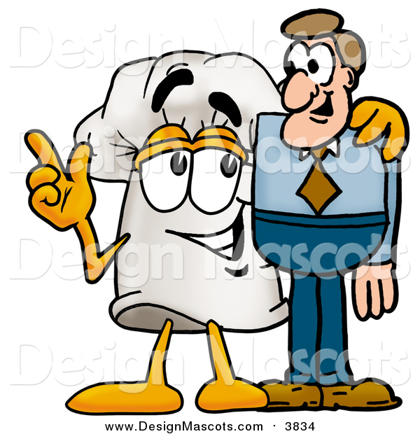 Illustration of a Chefs Hat Mascot Talking to a White Man