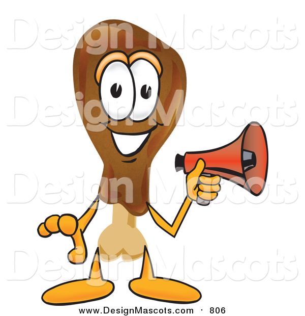 Illustration of a Chicken Drumstick Mascot Holding a Megaphone