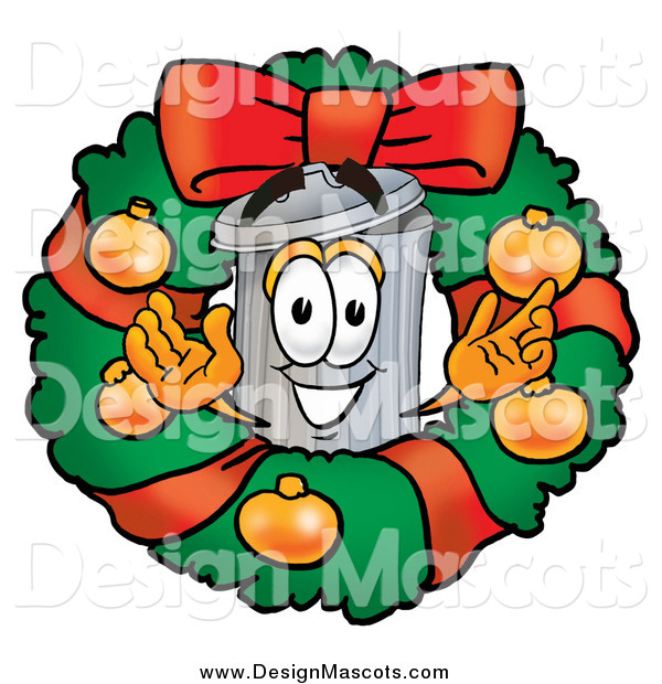 Illustration of a Christmas Wreath and Welcoming Trash Can Mascot