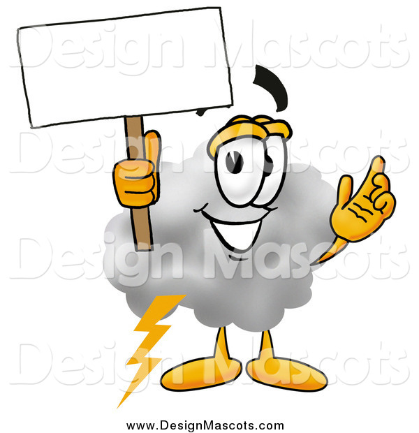 Illustration of a Cloud Mascot Holding a Blank Sign