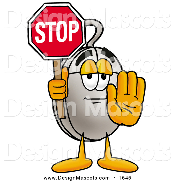 Illustration of a Computer Mouse Mascot Holding a Stop Sign