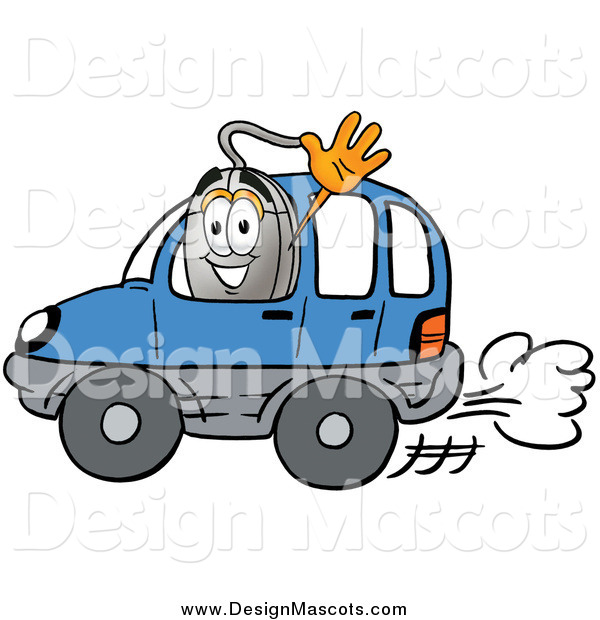 Illustration of a Computer Mouse Mascot Waving and Driving a Car