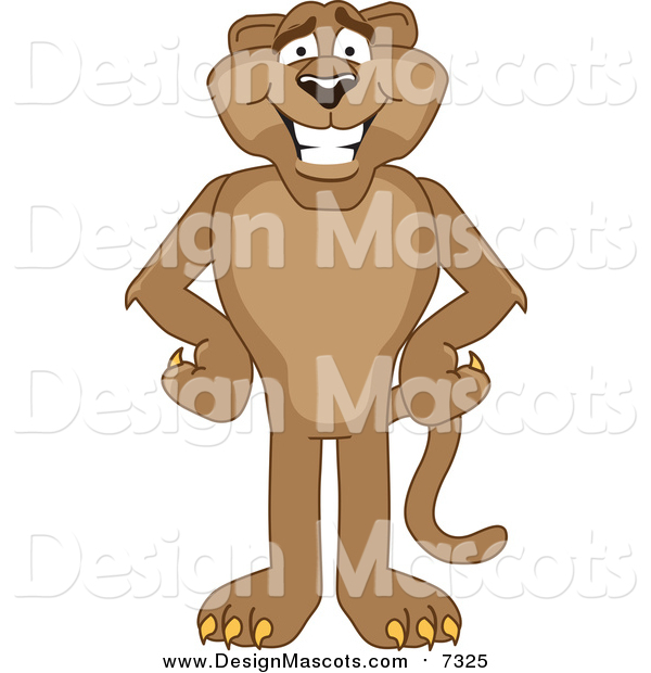 Illustration of a Cougar Mascot Standing with His Hands on His Hips