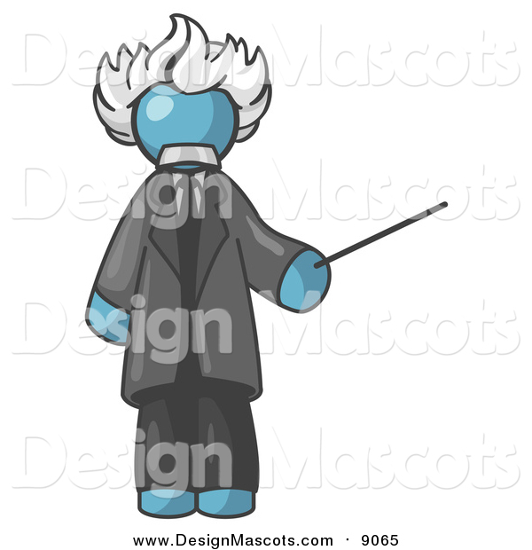 Illustration of a Denim Blue Albert Einstein Holding a Pointer Stick