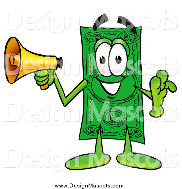 Illustration of a Dollar Bill Mascot Announcing with a Megaphone