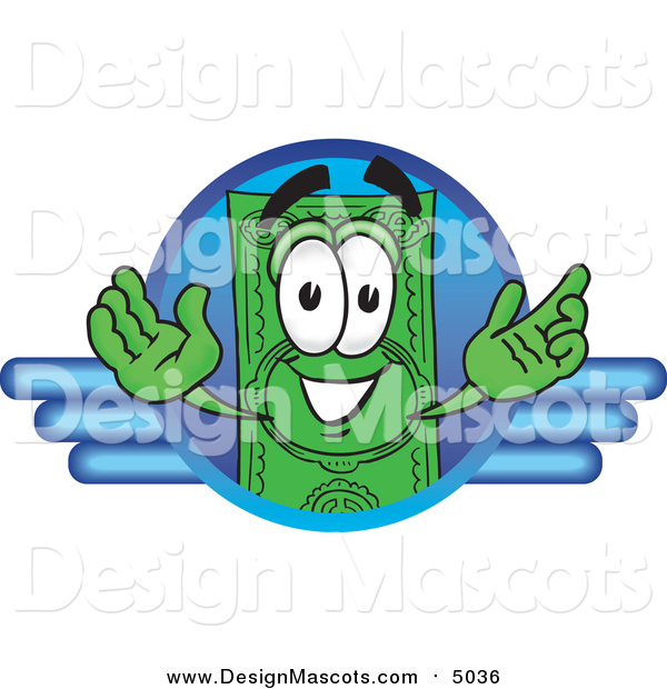 Illustration of a Dollar Bill Mascot on a Blue Business Logo